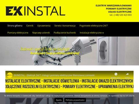 Ekinstal.pl usługi elektryczne Łomianki