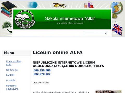 Liceum dla dorosłych przez internet Alfa